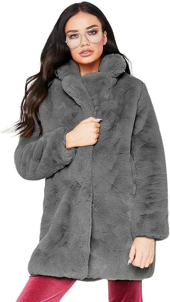 Kangma Women Coat Lapel Collar Faux Fur Coat Warm Winter Coat Overcoat Outercoat (Grey 1, Small(USA 4/6) /Tag M)