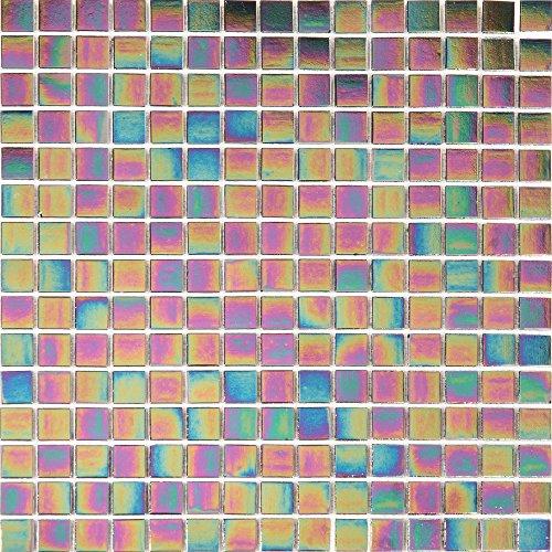 1MQ 32x 32cm Iris ierende Vitreous vetro mosaico piastrelle Matte in polvere glitterata viola scuro (mt0141M2)