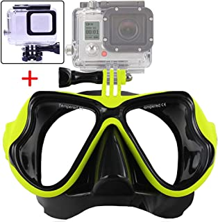 Oeyal Silicone Diving Glass with Detachable Screw Mount Diving Mask Scuba Snorkel Swimming Goggles for Sports Camera