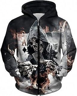 MIGAGA 3D Zip Hoodies Skull Poker Hoodie Men Sweatshirt Tracksuits Hoodie Streetwear