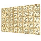 Paneles Divisorios de 40 Piezas - 147x235.5cm - Amarillo Biombos Separadores Cocina Forma Geometrica Pantalla Divisoria De Habitacion para Cocina, Oficina, Despensa, Baño