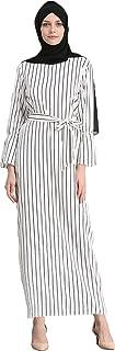 YI HENG MEI Women's Modest Muslim O-Neck Long Sleeve Stripes Long Maxi Abaya Dress Wraped