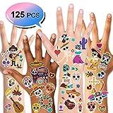 Konsait Mexicaine Halloween Tatouages temporaires pour Enfants Adulte, Tatouages ephémères Tattoos Étanche pour Enfant Anniversaire fête Dia De Los Muertos Carnaval Cadeau Pinata, 10 Feuilles