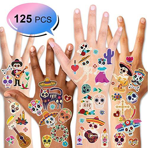 Konsait Halloween Temporäre Tattoos für Kinder, Mexican Tattoo Aufkleber für Kinder Mädchen Junge Halloween Mitgebsel Gastgeschenke Tag Der Toten Kindergeburtstag