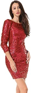 Women Sequin Glitter Long Sleeve Round Neck Backless Bodycon Stretchy Party Dress