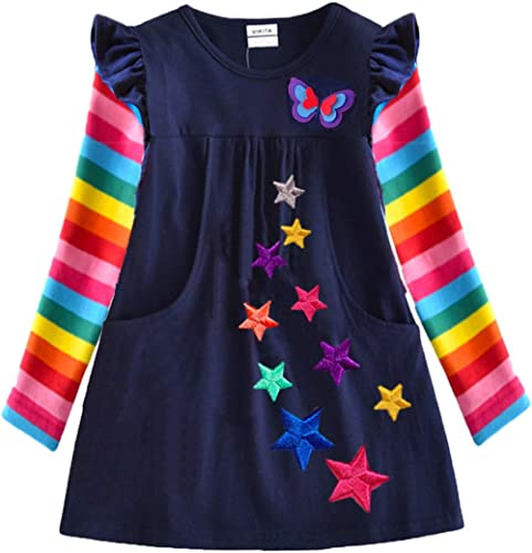 VIKITA Robes Coton T-Shirts Robe Casual Fille Vêtements