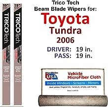 Beam Wiper Blades for 2006 Toyota Tundra Driver & Passenger Trico Tech Beam Blades Wipers Set of 2 Bundled with Bonus MicroFiber Interior Car Cloth