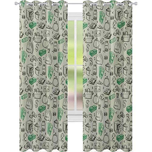 Cortinas opacas impresas, símbolos de sistemas monetarios dólar criptomoneda Bitcoin signo bosquejo, 2 paneles de ancho 52 x largo 108 cortinas de ventana para sala de estar, verde pálido, ver