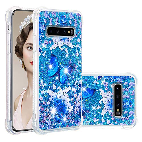 Misstars Glitzer Flüssig Hülle für Samsung Galaxy S10, Bling Sparkle Treibsand Handyhülle Transparent mit Muster Blau Schmetterling Design Weich TPU Silikon Stoßfest Schutzhülle
