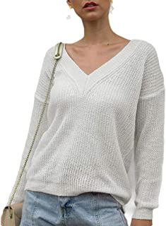 Womens V Neck Bottoming Shirt Fall Button Long Sleeve Loose Casual Knit Sweaters Tops