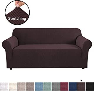 Stretch Sofa Covers 1 Piece Furniture Protector Couch Cover Feature Rich Textured Lycra High Spandex Small Checks Jacquard Fabric Sofa Cover Lounge Cover for 3 Seater (Large Size: Chocolate)