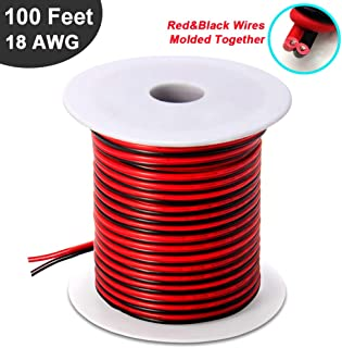 100FT 18 AWG Gauge Electrical Wire, DC 12V Hookup Red Black Copper Stranded Auto 2 Cord,..