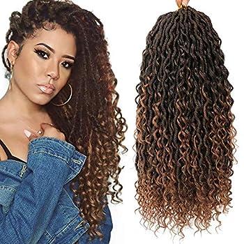 3 Packs Curly Faux Locs Crochet Hair 18 Inch Goddess Locs Crochet Hair Hippie Locs Boho Style Synthetic Braids Hair Extensions  18 Inch,3 Packs T1B/30