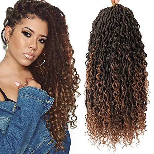 6 Packs Curly Faux Locs Crochet Hair 18 Inch Goddess Locs Crochet Hair Hippie Locs Synthetic Braids, Boho Style, Hair Extensions (18 Inch, 6 Packs, T1B/30)