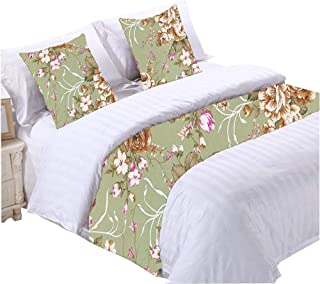 YIH Floral Bed Runner Scarf Green 94 Inch by 19 Inch, 1 Bed Runner + 2 Throw Pillow Covers, Decorative Bed End Scarf for Bedroom