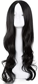 Black Wig Synthetic Heat Resistant Fiber Long Curly Middle line Hair Costume Cosplay Halloween Carnivel Women Hairpiece,Natural Black,26inches