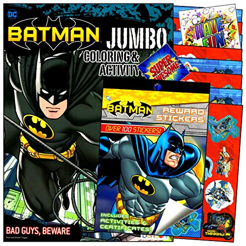 Product Image of the Batman Coloring Stickers Books Set with Reward Stickers, Coloring Pages, Games,...