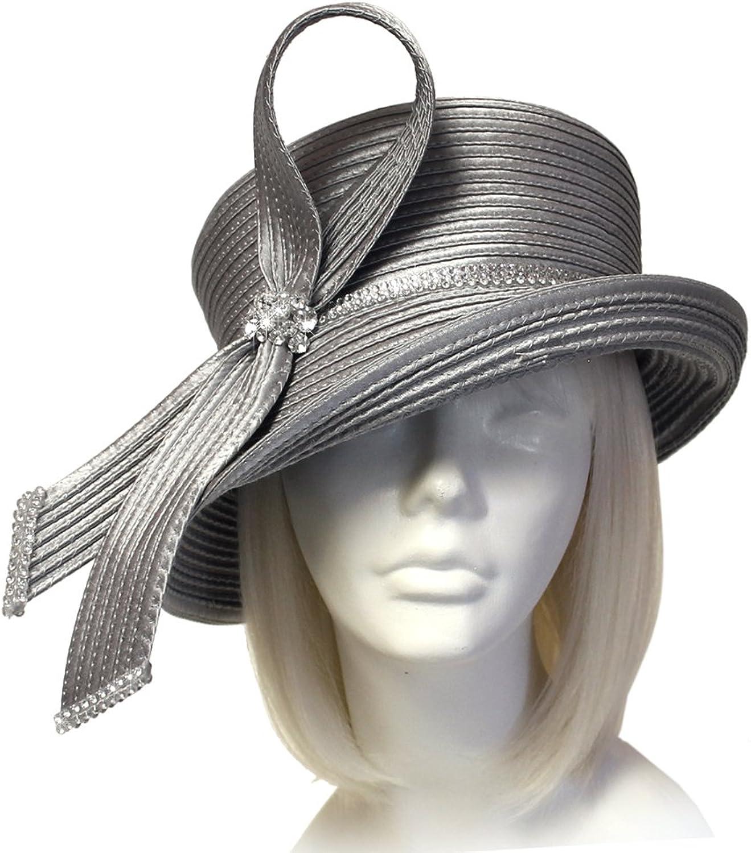 Mr. Song Millinery Medium Lampshade Brim Hat Brim With Loop Accent  Grey Q220