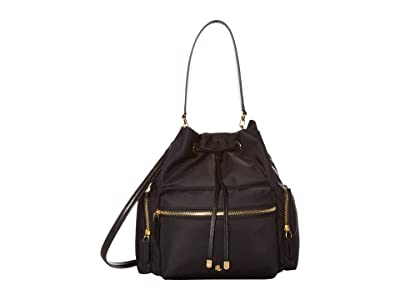 LAUREN Ralph Lauren Dryden Drawstring Soft Nylon Debby Medium (Black) Handbags