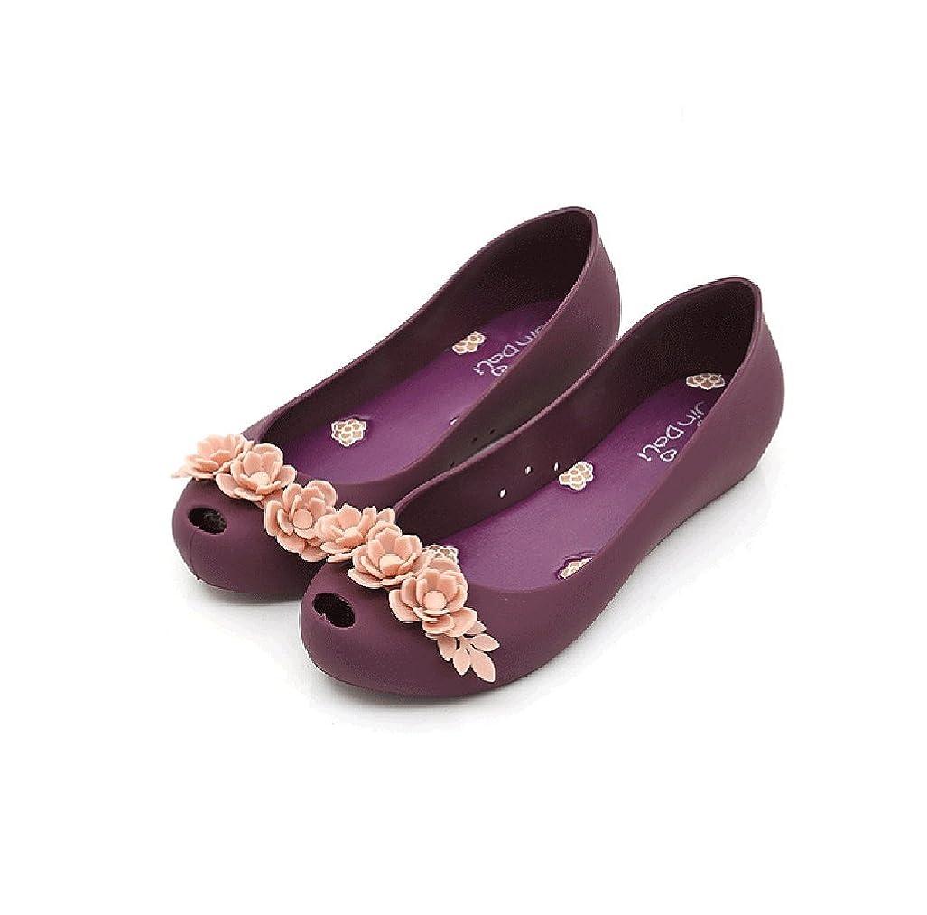 宣教師キリスト教弱める[QYQyx] 女性のアンチスキッドゼリーの弓浅いフラットシューズレディースカジュアル防水レインブーツ水の靴