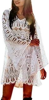Cimaybo Mujeres Encaje Cubierta Mini Vestido Traje Bikini Traje de baño Playa Traje de baño Bata