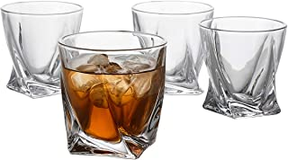 GoodGlassware Twist Whiskey Glasses (Set of 4) 10 oz - Premium Glass Tumblers with Heavy Base and Unique Twist Design - Lead-Free, Dishwasher Safe, Perfect for Drinking Spirits
