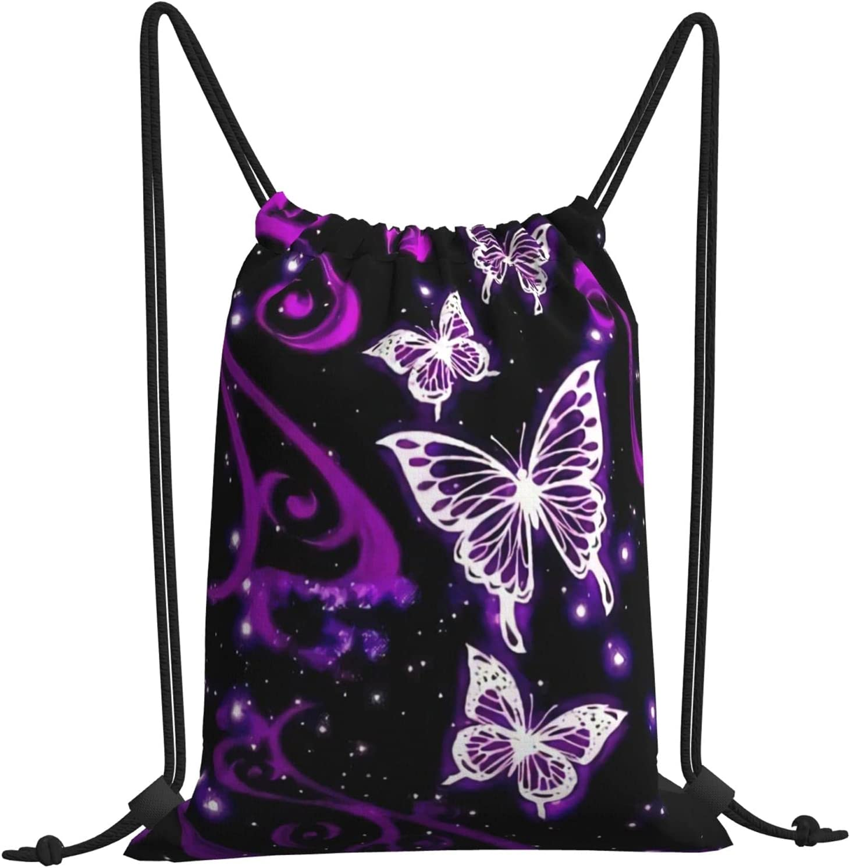 Hood-W4 Purple Butterfly Regular dealer Pattern Stri Unisex Drawstring Backpack Trust