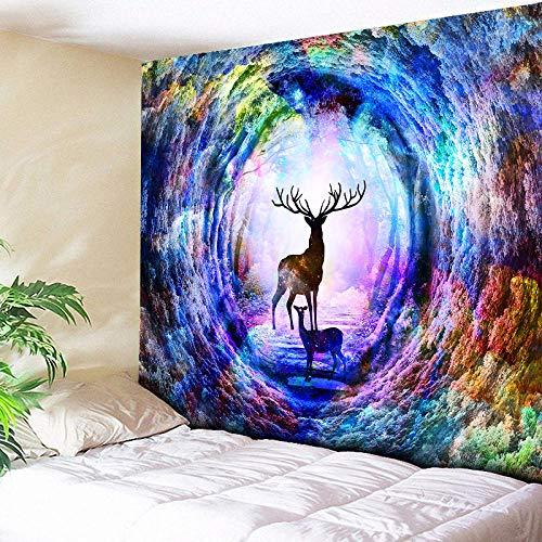 AdoDecor Tapiz de Pared Multicolor Arco Iris Elk Árbol Agujero Tapiz Colgante de Pared Sofá Manta Decoración para el hogar 150x100CM