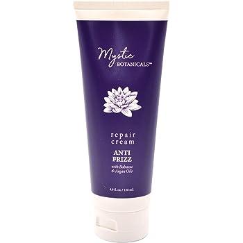 Mystic Botanicals Anti Frizz Hair Repair Cream With Babassu & Argan Oils| Gives Frizz Free & shiny hair While Strengthens & Repairs Hair| Paraben Free | 4 Fl. Oz, White