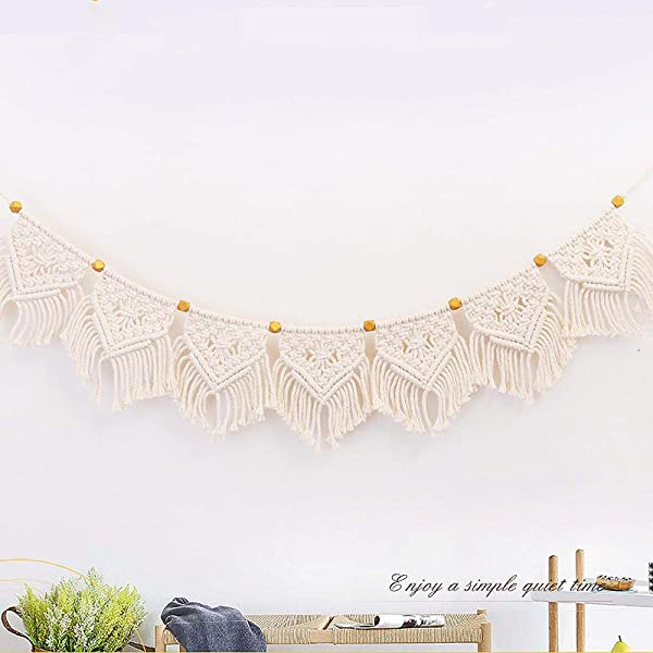OOOUSE Macrame Woven Wall Hanging Fringe Garland Banner Cotton Handmade Wall Art Home Decor Boho Home Decoration For Apartment Dorm Living Room Bedroom 7 9 W X43 3 L 7 Flags