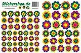 Prilblumen Set - 73 Aufkleber in 4 Größen, Retro Style 70er Jahre Kult, Wandsticker