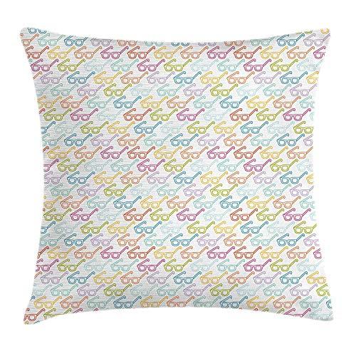AEMAPE Patrón de Colores con Garabato Inteligente clásico Nerd de anteojos, Funda de Almohada Decorativa Cuadrada, 18 x 18 Pulgadas, Multicolor