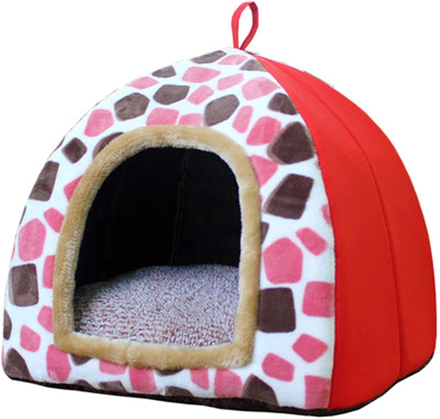 HONGNA Pet dog nest cotton nest cat litter removable and washable cute yurt shape, small and medium pet nest,orange,S