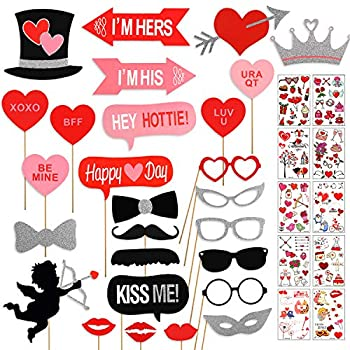 27Pcs Valentines Day Photo Booth Props Wedding Party Decorations with 10Pcs Temporary Tattoos