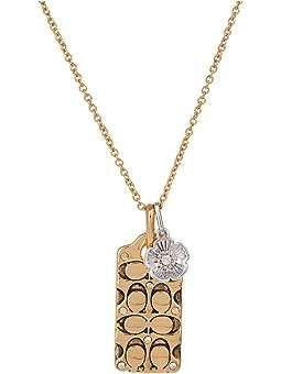코치 목걸이 COACH Quilted C Tag Pendant Necklace,Golden