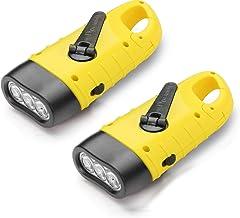 Dynamo Zaklamp VADIV 2-Pack LED Handslinger Solar Zaklamp Camping Emergency LED Zaklamp Karabijnhaak Zaklamp voor Camping ...