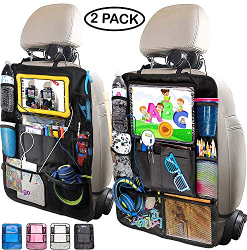 "Leef Island Backseat Car Organizer – 10"" Tablet Holder with 2 Cable Slots, 9 Storage Pockets, seat Protector Kick mats for Kids and Adults, Travel Accessories (2 Pack - Black)"