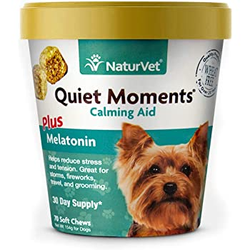 NaturVet Quiet Moments Calming Aid Dog Supplement – Helps Promote Relaxation, Reduce Stress, Storm Anxiety, Motion Sickness for Dogs – Tasty Pet Soft Chews with Melatonin
