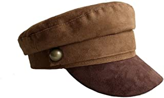 Autumn Winter Chamois Leather Military Hat Men Women Flat Top Army Cap British Style Brown Berets for Men Women