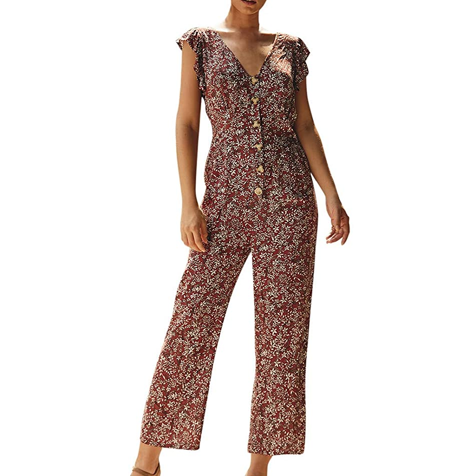 JOYFEEL Women Sexy V Neck Floral Print Rompers Ruffle Sleeveless Button Down Long Pants Petite Jumpsuits with Belts