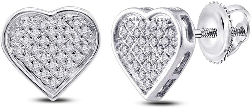 Sterling Silver Womens Rapid rise Round Diamond Cluster Heart 1 Earrings 6 Mail order