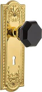 Nostalgic Warehouse 721701 Meadows Plate with Keyhole Passage Waldorf Black Door Knob, Unlaquered Brass, Passage - 2.75