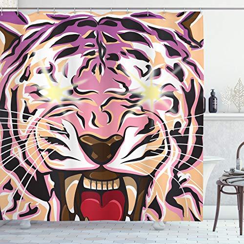 ABAKUHAUS Duschvorhang, Schreiender Tiger mit Glänzende Augen & Eiskaltem Wütenden Blick Lila Digital Druck Mehrfarbig, Wasser & Blickdicht aus Stoff mit 12 Ringen Bakterie Resistent, 175 X 200 cm