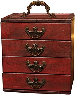 Toiletry Bags Jewelry Box Jewelry Display Box Retro Wooden Multi-layer Jewelry Storage Display Box Dressing Table Decorative Jewelry Storage Box Large-capacity Home Accessories Necklaces Rings Earring