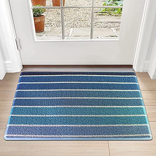 Fußmatte rutschfest Schmutzfangmatte Fussmatte für Innen & Außen, Blauer Schwarzer Streifen, 45x75cm