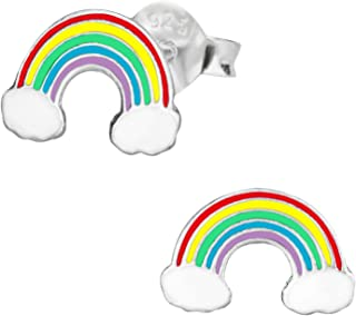 Hypoallergenic Sterling Silver Rainbow Stud Earrings for Kids (Nickel Free)