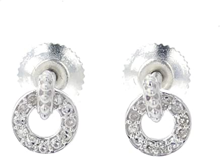 Womens Earrings With Diamonds Round Studs 0.12ctw Screw on back 7.5mm Small Diamond Studs Fashion Earrings Sterling Silver