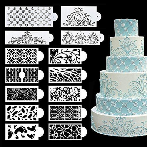 BINBE 14 Pcs Cake Decorating Stencils Floral Wedding Cake Stencil Floral Cake Templates Spray Floral Cake Molds Hollow Lace Cake Decoration Molds DIY Baking Decor Mold for Cake Decoration (1)