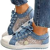 Minetom Zapatillas Mujer Zapatillas De Deporte Bordadas De Encaje Ocio Zapatos De Lona Plataforma Zapatos Deportivos Transpirables con Cordones Zapatillas C Azul 36 EU