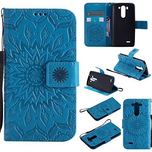 pinlu® PU Leder Tasche Etui Schutzhülle für LG G3 s (5 Zoll) Lederhülle Schale Flip Cover Tasche mit Standfunktion Sonnenblume Muster Hülle (Blau)